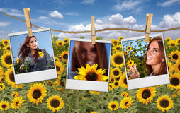 Film Shots Hanging in a Field of a Red Head Woman Royalty Free Stock Photos