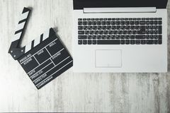 Film sign  on keyboard. Film sign  on the computer  keyboard on desk stock images