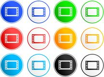 Film sign icons. Collection of film sign icons isolated on white Royalty Free Stock Photos