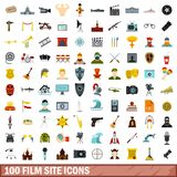 100 film site icons set, flat style. 100 film site icons set in flat style for any design vector illustration Stock Illustration