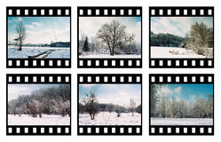 Film_6. Six color slides on a white background Stock Photography