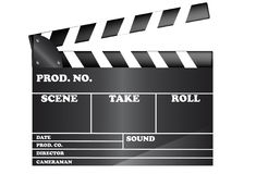 Film Slate. Movie clapper board isolated on white background Royalty Free Stock Photography