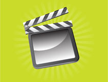 Film Slate. Raster illustration of a film slate on green background Stock Photo