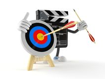 Film slate character with bull`s eye Royalty Free Stock Photos