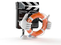 Film slate character holding life buoy Stock Images