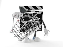 Film slate character holding shopping basket. Isolated on white background Stock Photos