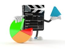 Film slate character with pie chart. On white background Stock Photography