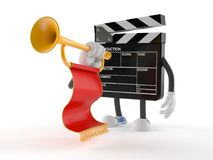 Film slate character playing the trumpet Royalty Free Stock Image