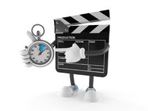 Film slate character with stopwatch. Isolated on white background Royalty Free Stock Photo