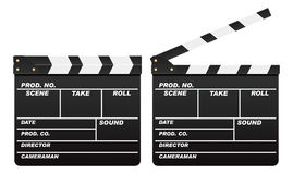Film slate (Clapboard). Vector film slate (Clapboard) isolated on white background, two versions - close and open Royalty Free Stock Images