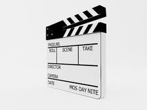 Film slate with clipping path. Isolated on white with clipping path Royalty Free Stock Photography