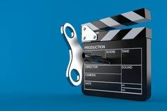 Film slate with clockwork key. Isolated on blue background. 3d illustration Royalty Free Stock Images