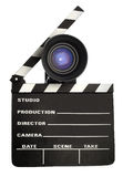 Film slate and lens Stock Image