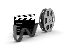 Film Slate with Movie Film Reel Royalty Free Stock Photos