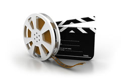 Film slate, movie reel. 3d illustration of film slate, movie reel Stock Images