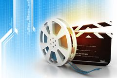 Film slate and movie reel. On tech background Stock Image