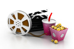 Film slate, movie reel, popcorn and cup of cola. 3d illustration of film slate, movie reel, popcorn and cup of cola Stock Images