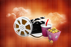 Film slate, movie reel, popcorn and cup of cola. 3d illustration of film slate, movie reel, popcorn and cup of cola Royalty Free Stock Photo