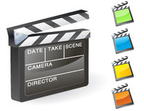 Film slate vector. Movie film slate  set Stock Image
