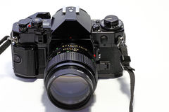 Film SLR camera. A frontal image of a full frame film SLR camera stock photo