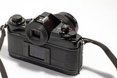 Film SLR camera. An image of a vintage film SLR camera from the back royalty free stock photo