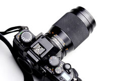 Film slr camera. Onthe white background Royalty Free Stock Photography