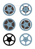 Film spool. Set on white background. Flat vector Stock Image