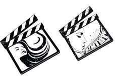 Film square. A illustration of film clip with a woman pose Stock Image