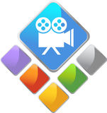 Film Square Icon. In multiple colors Royalty Free Stock Photos