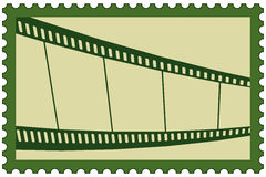 Film stamp. Illustration of the film strip on postage stamp Royalty Free Stock Photography