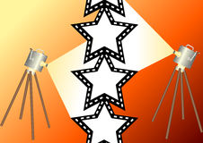 Film star 2. Film projectors with star staped film Stock Image