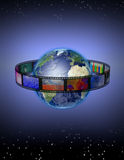 Film Stars. High-resolution 3-D illustration Film encircles Earth with stars above and below Royalty Free Stock Photos