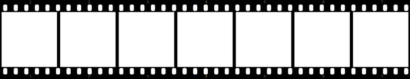 Film stock. Illustration of a film with a sequence of frames Royalty Free Stock Image