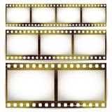 Film-Streifen-Vektor-Satz Kino des Foto-Rahmen-Streifen-freien Raumes verkratzt lokalisiert auf weißem Hintergrund lizenzfreie abbildung