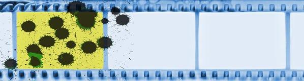 Film-Streifenrahmen der Weinlese blauer mit schwarzem Tropfen Stockbild