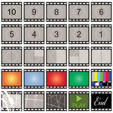 Film strip. Stills with number countdown and blanks Stock Photos