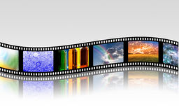 Film Strip. Curves horizontally over white surface Royalty Free Stock Photography