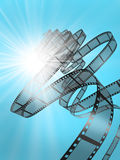 Film Strip. 3d illustration on blue background Royalty Free Stock Photos