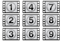 Film Strip. Highly detailed film countdown numbers. (one Through nine Stock Image