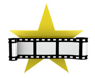 Film strip. One film strip with a yellow star (3d render Royalty Free Stock Image