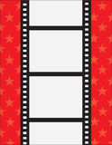 Film Strip. A film strip with spaces for text on a red background with stars Royalty Free Stock Images