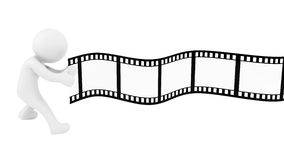 Film strip. Render of human pulling film strip, isolated on white Royalty Free Stock Images