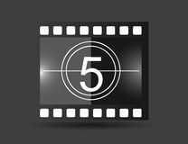 Film strip. With five number, black color. vector illustration Stock Image