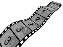 Film Strip. 3d Film Strip with counter. White background Stock Photography