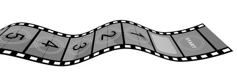 Film Strip. 3d Film Strip with counter. White background Royalty Free Stock Photos