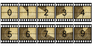 Film strip. Detailed retro film countdown numbers Stock Photos