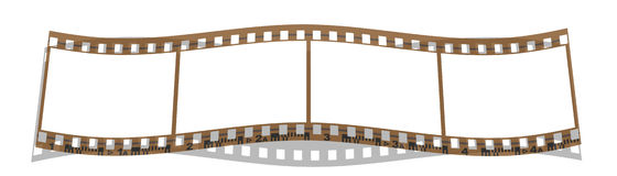 Film strip 4 frames. 4 frames film strip in correct proportions for 35mm film frame. Copyspace Royalty Free Stock Photo
