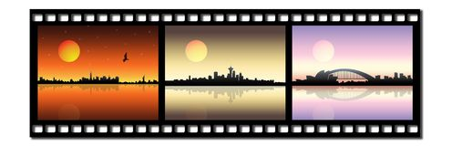 Film strip. With three cityscapes Royalty Free Stock Image