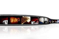Film strip. With music photos Stock Images