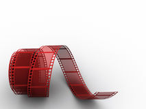 Film strip. Red film strip on white background - 3d render Stock Photos